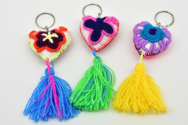 Heart Embroidered Keychain Oaxaca Felted Wool Artisan Mexico