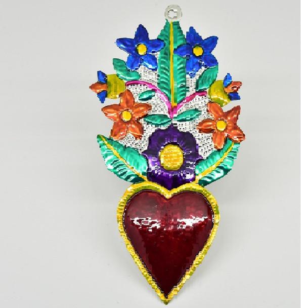 Heart with Flower Bouquet Tin Works Oaxaca