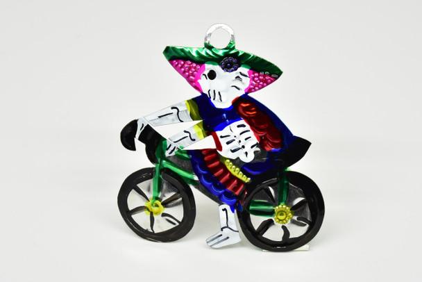 La Catrina Bicycle Tin Plaque Mexico Folk Art
