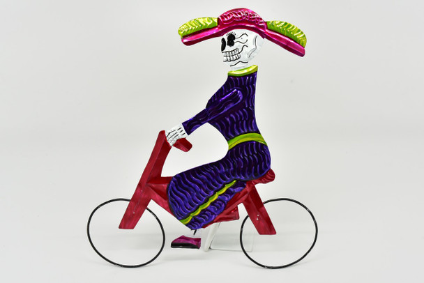 Katrina with Hat Bicycle Rider Tin Ornament Hand Painted