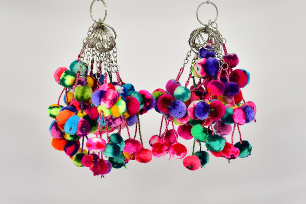 Keychain or Purse Charms Pom Pom Multicolor Decor