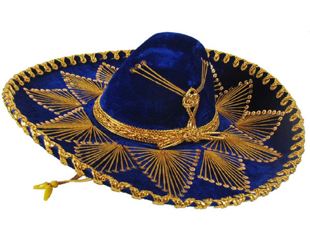 Genuine Sombrero Adult Mariachi Sombrero Charro Hat Velvet Assorted Colors 23""