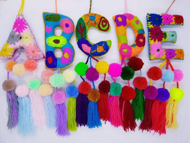 Alphabet Felt Embroidered Letters with Tassels
