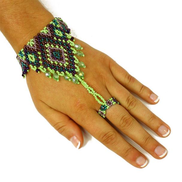 Emerald Gems Color Gypsy Ring Slave Bracelet Beaded Guatemala