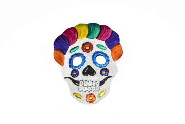 """Tin Sugar Skull Ornament 4"""" x 4"""" Hand Punched Made in Mexico"""