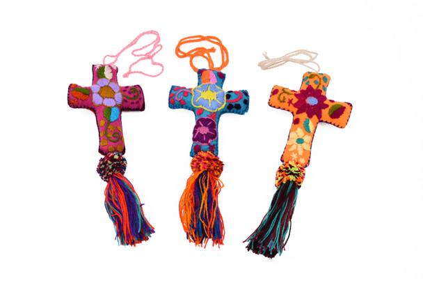 "Traditional Felt Embroidered Cross Oaxaca 4.5"" x 3"""