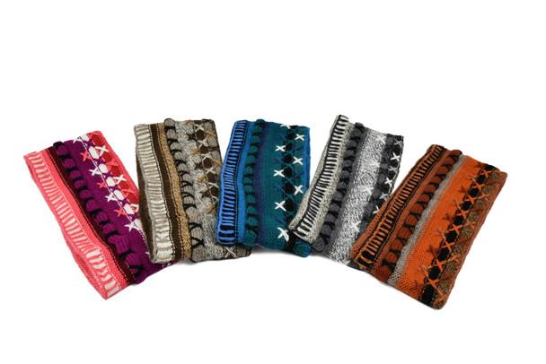 Hand Embroidered Cross Stitch Headband 100% Alpaca Stretchable