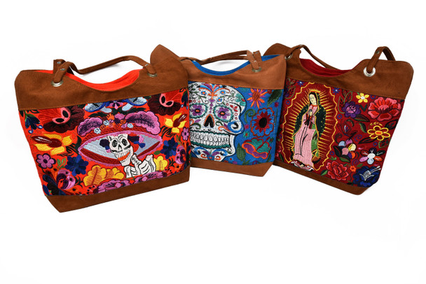 Suede and Fabric Embroidery Bag Virgin Guadalupe, Day of the Dead, Frida Kahlo Designs