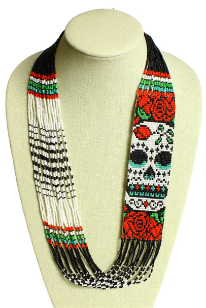 Sugar Skull and Roses Necklace Glass Beads Guatemala