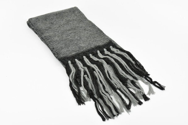 Reverse Knit Gray Scarf Salt and Pepper Scarf