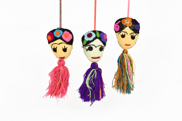 Frida PomPom Assortment Ornaments Felt Embroidered