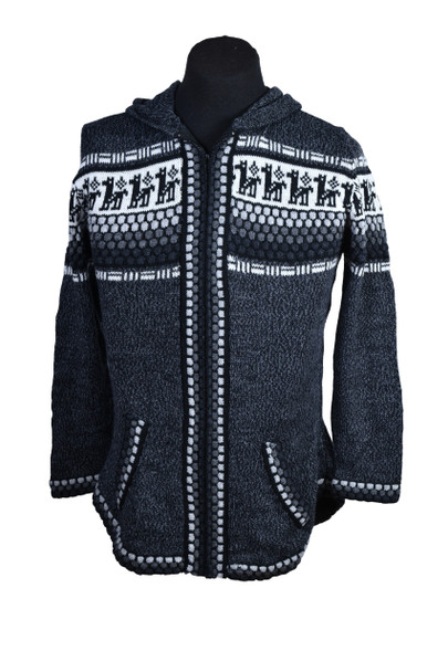 Black Alpaca Sweater with Knobbly Pattern Zip Up 100% Alpaca