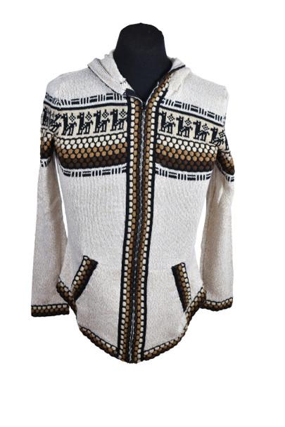 Alpaca Knobbly Zip Up Sweater with Llama Pattern