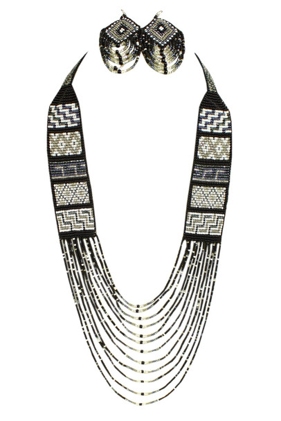 Mesa Necklace Set Multi-Stranded Glass beaded Collar with Dangle Earrings