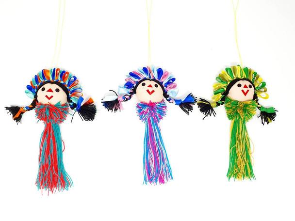Handmade rag doll ornament with pom pom and tassel/ Maria