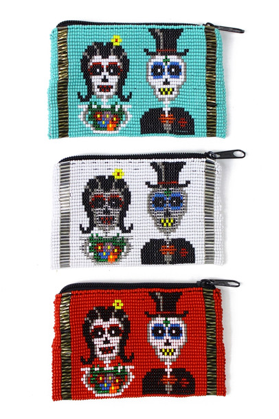 "Beaded Day of the Dead Coin Purse - BG601 Sugar Skull Zipper 3.5"" x 4"""