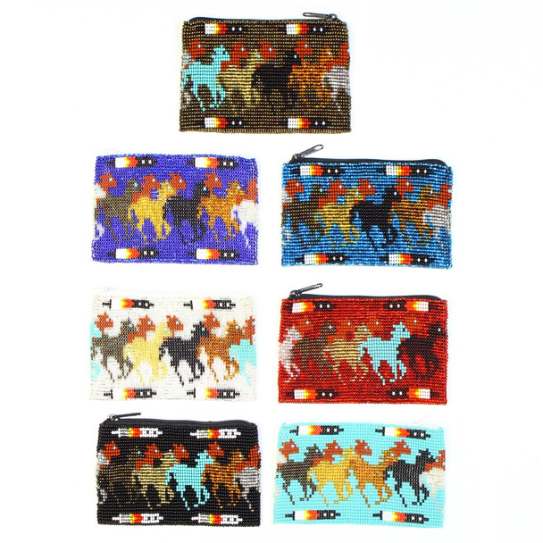Galloping Horse Western Frontier Coin Purses Glass Beads Hand Crafted