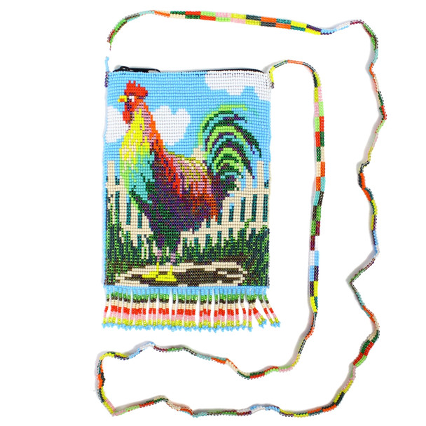 Fine Detailed Morning Rooster Shoulder Bag with Top Zipper and Beaded Handle Strap