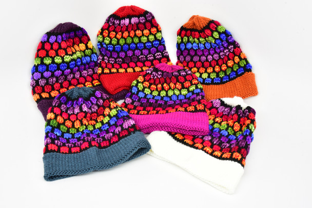 Tinkuy Beanies Alpaca Blend Turtle Pattern Bright Colors