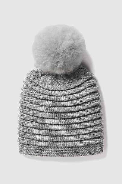 Alpaca Ribbed Pleated Solid Color Beanie with Oversized PomPom
