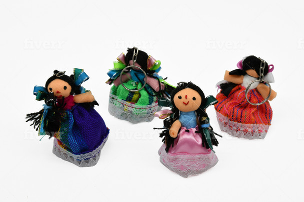 Keychain Maria Dolls in Many Bright Colors Mexico