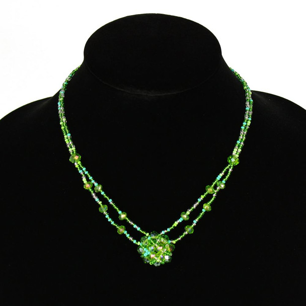 Crystal Mandala Necklace Medallion 2 Strands Glass and Crystal Beads Hand Made Guatemala