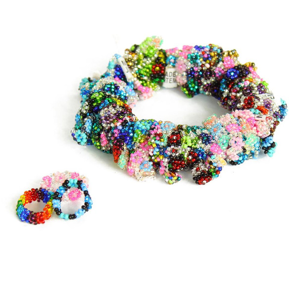 Daisy Chain Rings Assorted Colors in Ten Pack Mixed Colors Wholesale