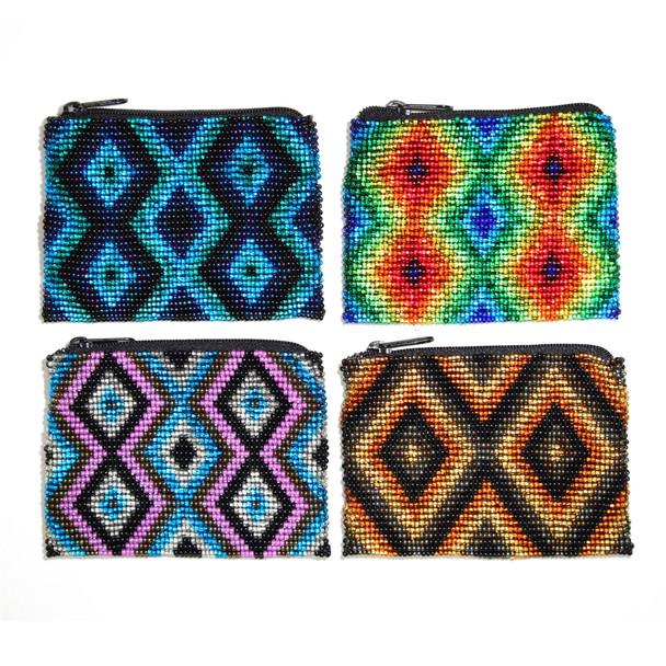 Geometric Beaded Coin Purse (Multiple Colors) - Guatemala