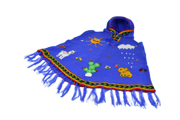 Hooded Poncho with Applique Details Sizes 0, 2, 4, 6