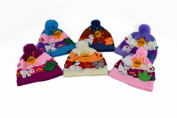 Assortment of Child Applique Cotton Beanies Handcrafted Peru