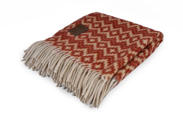 "Chacana Inca Cross Pattern Two Tone Alpaca Blanket Reversible Colors 60"" x 84"" Maroon and Tan"