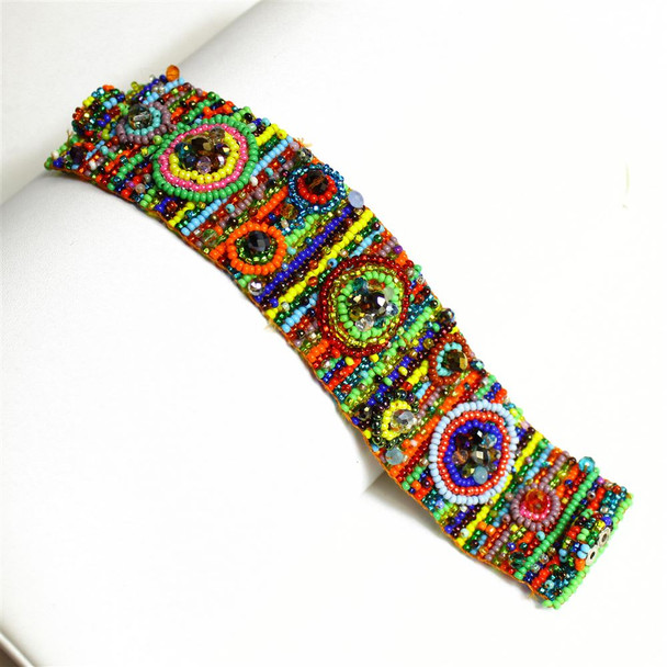 Multicolor Nine Circles Bracelet Double Magnetic Clasp Glass and Crystals
