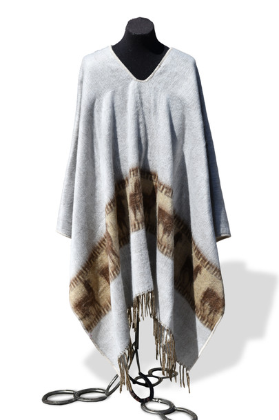Reversible Brushed with Llamas Poncho Natural 100% Alpaca Adult One Size