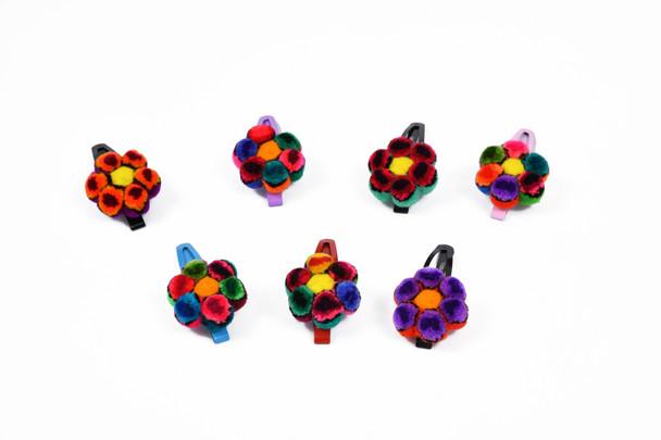 Bobby Pins Hair Embellishments  Fluffy Furry Balls Flowers Hand Made Artisans