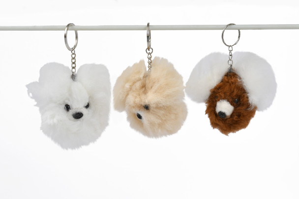 Teddy Bear Pompom Keychain Tote Embellishment Assorted Natural Shades
