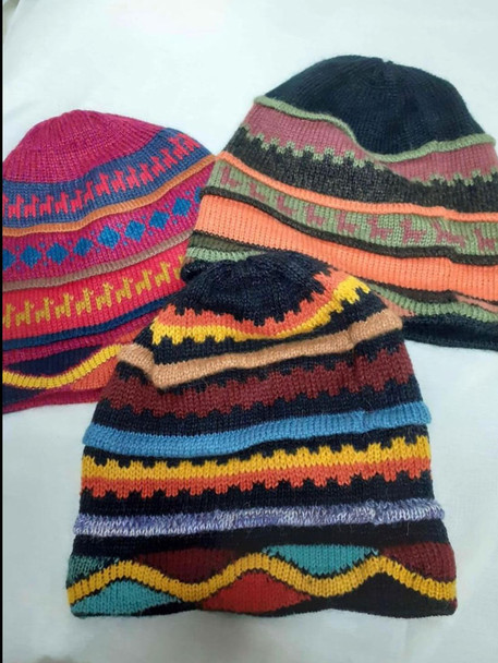 Beanie Stripes and Waves 100% Alpaca Knit Reversible Multicolored