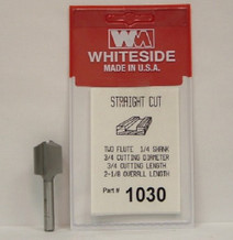 WHITESIDE 1030 STRAIGHT BIT 3/4-CD 3/4-CL 1/4-SHANK 2-1/8OAL 2-FLUTE