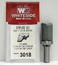 WHITESIDE MACHINE 3018  TEMPLATE BIT W/BALL BEARING GUIDE 1-1/8CD 1 -1/2CL 1/2SH
