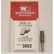 WHITESIDE MACHINE 3002  TEMPLATE BIT W/BALL BEARING GUIDE 1/2CD 3/4CL 1/4SHANK