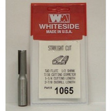 WHITESIDE 1065 2 Flute Straight Bit, 7/16 Dia, 1-1/4 Cut Length, 1/2 Shank