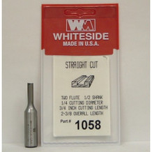 WHITESIDE 1058 STRAIGHT BIT 1/4-CD 3/4CL 1/2-SHANK 2-3/8-OAL 2 FLUTE ROUTER BIT