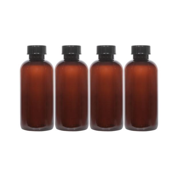 8 oz Amber PET Boston Round Bottles