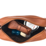 Parker's Saddle Brown Leather Dopp Kit  Featured on Your Tango - a Great Choice for a Third Wedding Anniversary Gift!