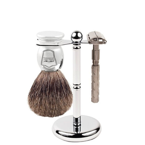 Parker 22R Safety Razor Shave Set - Includes Pure Badger Brush, Stand & Parker 22R Butterfly Open Safety Razor