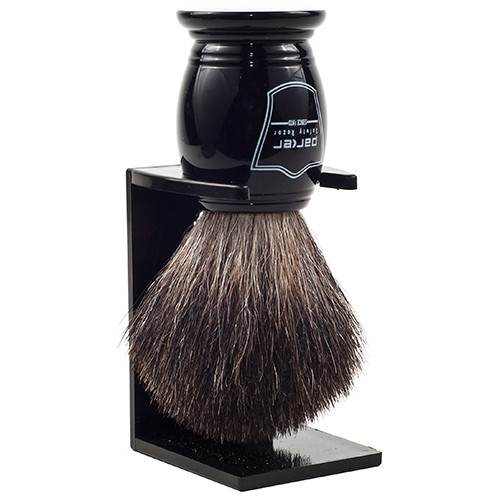 Parker Safety Razor 100% Black Badger Bristle Shaving Brush with Ebony Handle & Free Stand