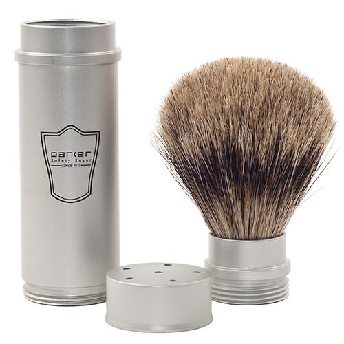 Parker Safety Razor 100% Pure Badger Full Size Travel Shave Brush - Brushed Aluminum