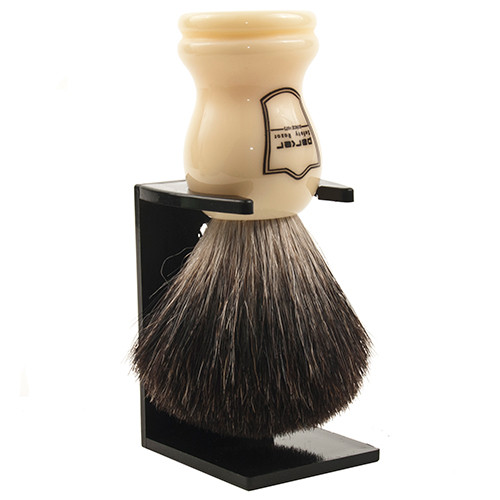 100% Black Badger Shave Brush with Ivory Handle and Free Stand from Parker Safety Razor
