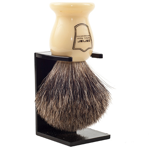 "Parker Safety Razor 100% Pure Badger Bristle ""Classic"" Ivory Handle Shaving Brush with Free Brush Stand"