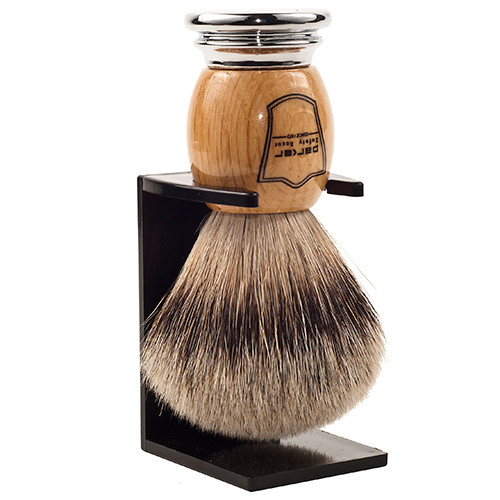 Parker Safety Razor 100% Silvertip Badger Bristle Shaving Brush (Deluxe Olivewood Handle) and Brush Stand
