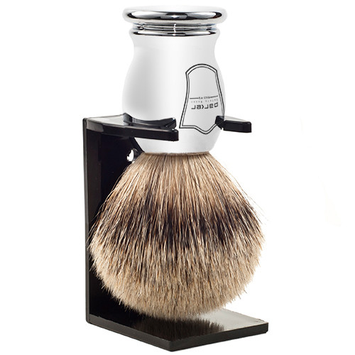 Parker Safety Razor 100% Silvertip Badger Bristle Shaving Brush (Chrome Handle) and Free Shaving Brush Stand